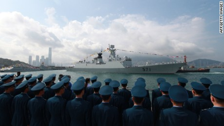 Chinese missile frigate Yuncheng (571) docks in Hong Kong on April 30, 2012.