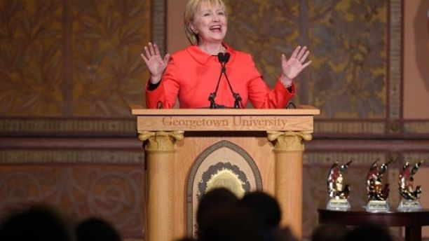 Former Secretary of State Hillary Clinton speaks at Georgetown University in Washington, Friday, March 31, 2017, on the important role that women can play in international politics and peace building efforts. (AP Photo/Susan Walsh)
