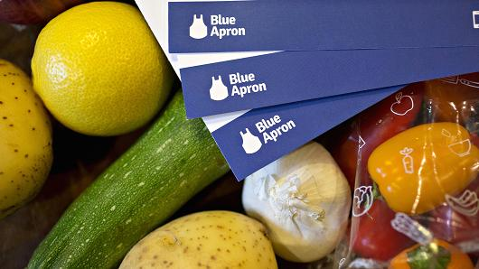 Recipe cards from a Blue Apron Holdings Inc. meal-kit delivery are arranged for a photograph in Tiskilwa, Illinois, U.S., on Wednesday, June 14, 2017.