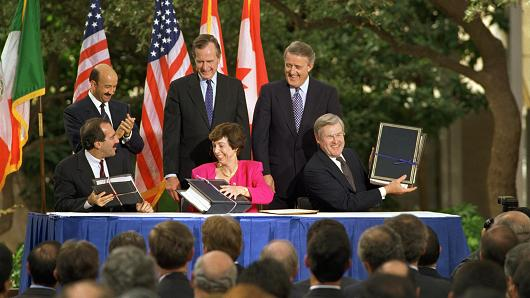 Leaders of Mexico, U.S., and Canada during NAFTA treaty signing in San Antonio, Texas, Oct. 7, 1992.