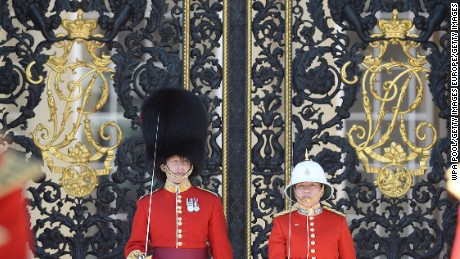 Captain Megan Couto (right) of the 2nd Battalion, Princess Patricia's Canadian Light Infantry, makes history as she becomes the first female to command the Queen's Guard at Buckingham Palace on June 26, 2017 in London, England.