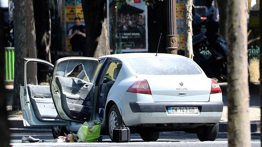 The car that smashed a police van is seen at Avenue Des Champs Elysees on June 19, 2017 in Paris, France.