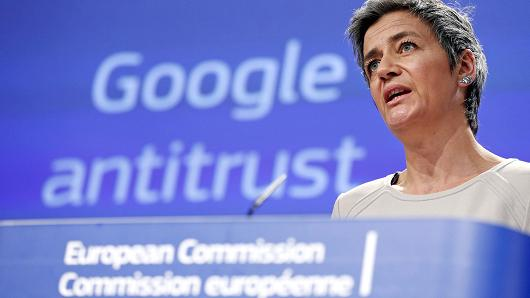 European Competition Commissioner Margrethe Vestager speaks during a news conference at the EU Commission headquarters in Brussels, April 15, 2015.