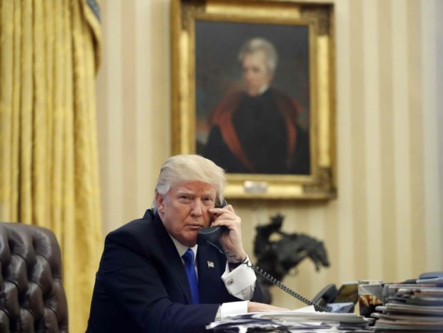 Trump on the phone, Andrew Jackson in the back (Alex Brandon / Associated Press)