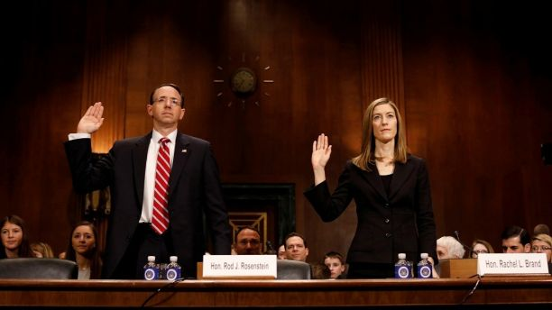 Rod Rosenstein, nominee to be Deputy Attorney General, and Rachel Brand, nominee for Associate Attorney General, are sworn before the Senate Judiciary Committee on Capitol Hill in  Washington March 7, 2017.  REUTERS/Aaron P. Bernstein - RTS11TPK