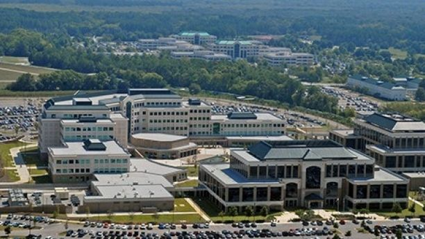 From the sky, Redstone Arsenal offers an impressive footprint of facility growth. In this photo, taken last September, the new Missile Defense Agency at the Von Braun Center is in the foreground while the Sparkman Center, home of the Aviation and Missile Command, is seen in the background. The new headquarters for the Army Materiel Command, the Security Assistance Command and the Redstone Test Center are located west of where this photo was taken.