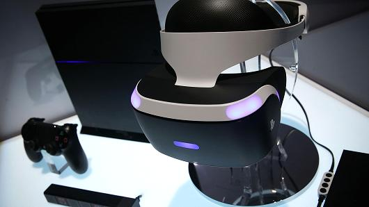 A reference model of the Sony PlayStation VR viewer is on display with a PlayStation 4 system during a press event for CES 2016 at the Mandalay Bay Convention Center on January 5, 2016, in Las Vegas.