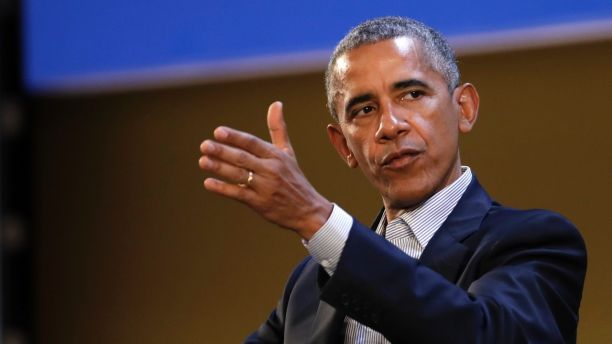 United States former President Barack Obama talks during the