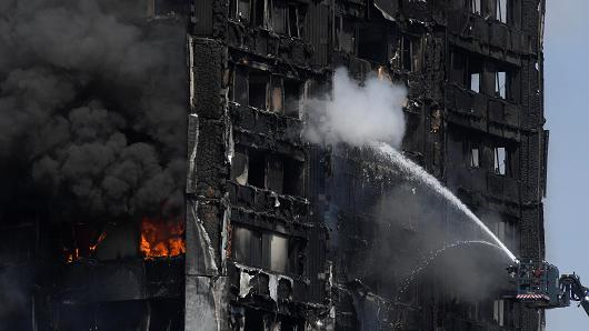 Firefighters direct jets of water onto a tower block severely damaged by a serious fire, in north Kensington, West London, Britain June 14, 2017.