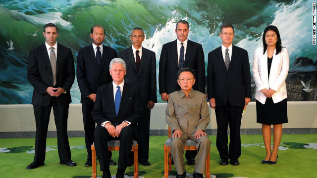 North Korean state media released this photo of Bill Clinton and Kim Jong Il on August 4, 2009.