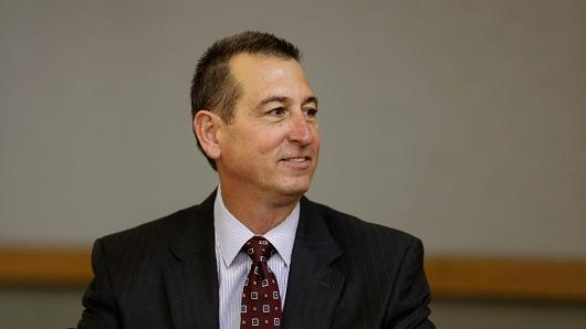 Joseph Otting, then-CEO of OneWest Bank, smiles during a public meeting held by the Federal Reserve Board and the Office of the Comptroller of the Currency (OCC) in Los Angeles, California, U.S., on Thursday, Feb. 26, 2015.