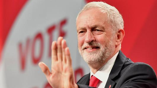 Labour Party leader Jeremy Corbyn speaks at the Labour Party general election campaign launch at Event City on May 9, 2017 in Manchester, England.