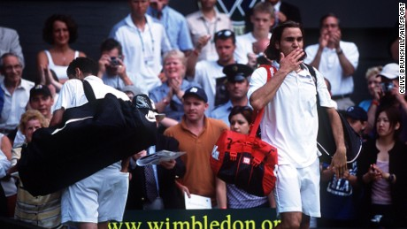 The king of Wimbledon, Pete Sampras, is dethroned (7-6, 5-7, 6-4, 7-6, 7-5).