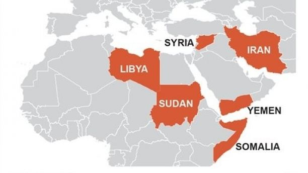 Map locates the countries included in Trump's travel ban; 2c x 3 inches; 96.3 mm x 76 mm;