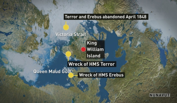 Erebus and Terror wrecks found map