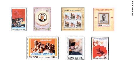 Various North Korean stamps.