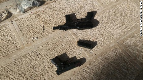 Israeli police say these are the weapons used to carry out Friday's attack in Jerusalem's Old City.