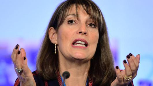 EasyJet CEO Carolyn McCall gestures as she attends an A4E (Aviation For Europe) Aviation Summit in Brussels on February 8, 2017. A4E was founded by Europe's five largest airline groups and now counts 14 members to represent the interests of its members towards the EU institution, international organisations and national governments on European aviation issues.