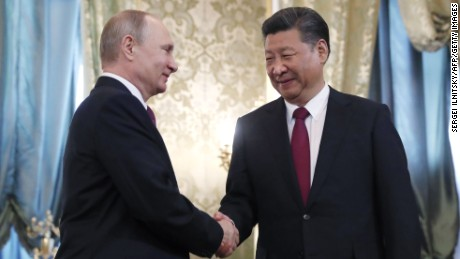 Presidents Vladimir Putin and Xi Jinping met in Moscow on July 4.