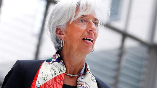 """International Monetary Fund Managing Director Christine Lagarde arrives to present their report """"Making Trade an Engine of Growth for All: The Case for Trade and For Policies to Facilitate Adjustment"""" in Berlin, Germany, April 10, 2017."""