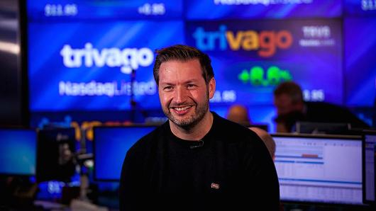 Rolf Schroemgens, co-founder and CEO of Trivago GmbH, at the Nasdaq MarketSite during the company's IPO in New York, U.S., on Dec 16, 2016.