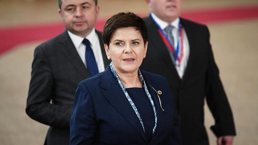 Prime Minister of Poland Beata Szydlo arrives at the Council of the European Union on the first day of an EU summit, on March 9, 2017 in Brussels.