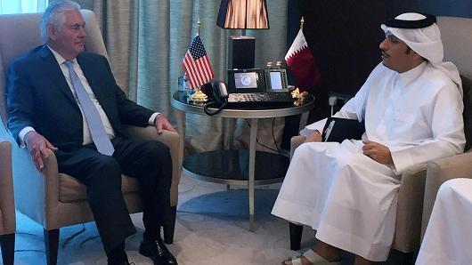 U.S. Secretary of State Rex Tillerson meets with Qatar's Foreign Minister Sheikh Mohammed bin Abdulrahman al-Thani in Doha, Qatar July 11, 2017.