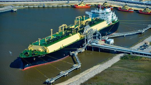 The Asia Vision LNG carrier ship at the Cheniere Energy terminal in this aerial photograph taken over Sabine Pass, Texas, Feb. 24, 2016