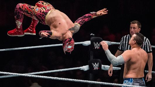 Sin Cara jumps during to the WWE Live Duesseldorf event at ISS Dome on February 22, 2017 in Duesseldorf, Germany.