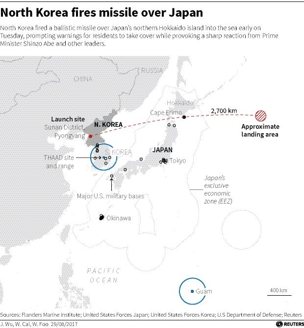 N Korea missile map