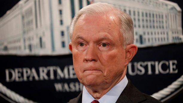 U.S. Attorney General Jeff Sessions looks on during a news conference announcing the takedown of the dark web marketplace AlphaBay, at the Justice Department in Washington, U.S., July 20, 2017. REUTERS/Aaron P. Bernstein - RTX3C8RU