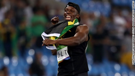 Bolt of Jamaica celebrates winning the Men's 4 x 100m relay at the Rio Olympics