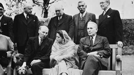 Begum Ra'ana Liaqat Ali Khan (front, center) sits with a host of world leaders at the opening day of the conference of Dominion Prime Ministers at 10 Downing Street, London on April 21, 1949.