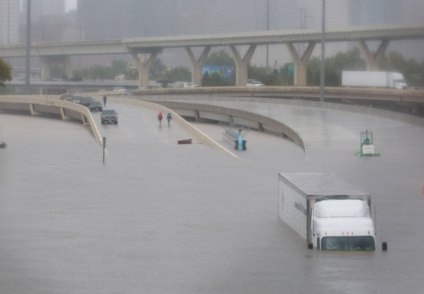 STORM HARVEY truck submerged on Interstate highway 45