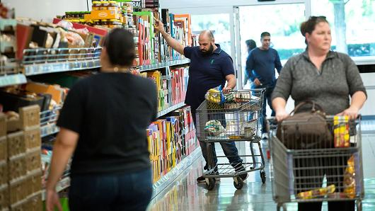 Customers shop at an Aldi Stores location in Hackensack, New Jersey.
