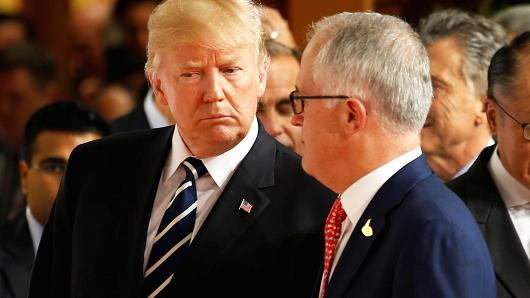 Australian Prime Minister Malcolm Turnbull, and U.S. President Donald Trump at the G20 leaders summit in Hamburg, Germany, July 7, 2017.