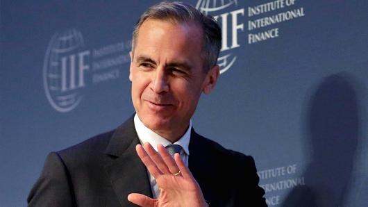 Bank of England Governor Mark Carney leaves after speaking at 2017 Institute of International Finance (IIF) policy summit in Washington, U.S., April 20, 2017.