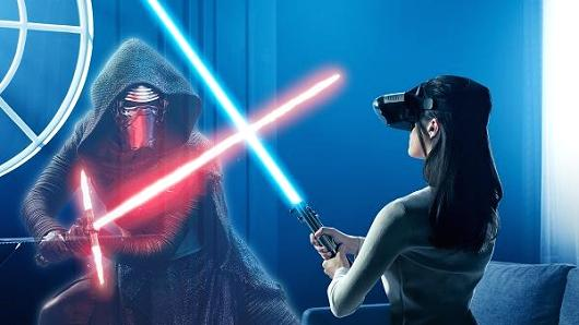 "The ""Star Wars: Jedi Challenges"" game requires players to wear the Lenovo Mirage augmented reality (AR) headset. While wearing this, the game will be overlaid onto the real world, allowing players to battle enemies with the Lightsaber controller that comes with the game."