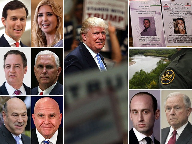 President Donald Trump and warring White House factions on immigration policy: Jared Kushner, Ivanka Trump, Reince Priebus, Mike Pence, Gary Cohn, and H.R. McMaster vs. Stephen Miller, Jeff Sessions, border patrol agents, and
