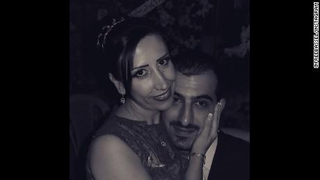 Bassel Khartabil and his wife on their wedding day.