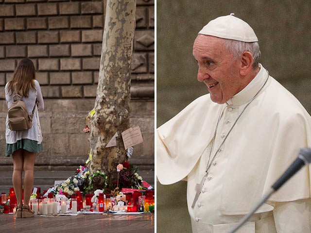Left: A mourner at the site of the terror attacks in Barcelona, Spain. Right: Pope Francis.