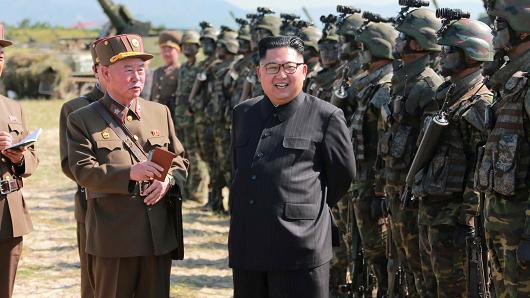 North Korean leader Kim Jong Un guides a target-striking contest of the special operation forces of the Korean People's Army (KPA) to occupy islands in this undated picture provided by KCNA in Pyongyang on August 25, 2017.