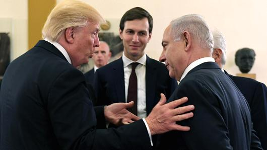 In this handout photo provided by the Israel Government Press Office (GPO), US President Donald J Trump (L) and White House senior adviser Jared Kushner meet with Israel Prime Minister Benjamin Netanyahu (R) at the King David Hotel May 22, 2017 in Jerusalem, Israel.