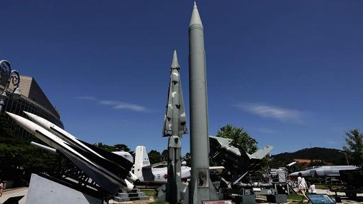 A North Korea Scud-B missile is displayed at the Korea War Memorial Museum on August 26, 2017 in Seoul, South Korea.
