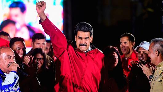 Venezuelan president Nicolas Maduro celebrates the results of 'Constituent Assembly', in Caracas, on July 31, 2017.