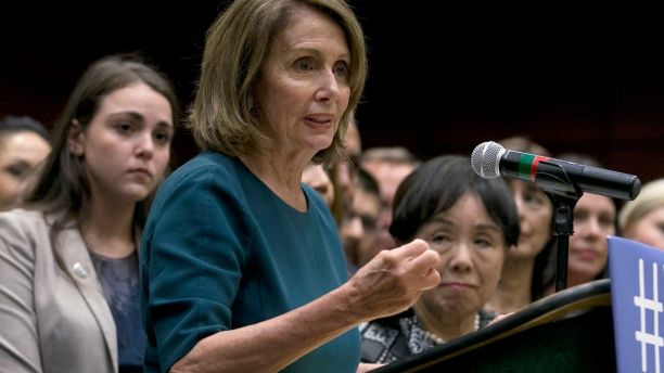 Rep. Nancy Pelosi, the top Democrat in the U.S. House, discusses immigration reform before a group of students, faculty and others at California State University, Sacramento, Monday, Sept. 18, 2017, in Sacramento, Calif. Earlier she was shouted down by young immigrants at an event in San Francisco where she was trying to drum up support for legislation the would grant legal status to young immigrants. (AP Photo/Rich Pedroncelli)