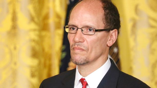 U.S. Assistant Attorney General Tom Perez stands as President Barack Obama (not pictured) introduces him to be his next labor secretary, at the White House in Washington, March 18, 2013. Before joining the Justice Department in 2009, Perez was Maryland's labor secretary. If confirmed by the Senate, he will replace Hilda Solis, who resigned in January. REUTERS/Jonathan Ernst    (UNITED STATES - Tags: POLITICS HEADSHOT) - GM1E93J01KL01
