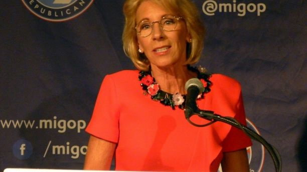 Education Secretary Betsy DeVos speaks on Friday, Sept. 22, 2017 at the Mackinac Republican Leadership Conference on Mackinac Island, Mich. DeVos said Obama-era guidance on investigating campaign sexual assaults
