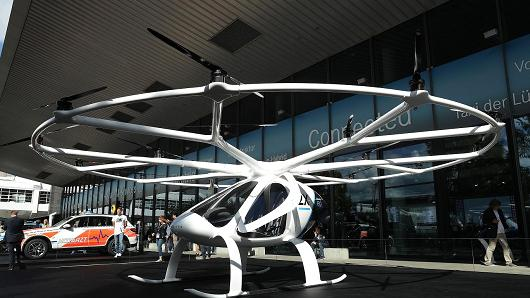 A Volocopter 2X electric multirotor helicopter stands on display at the 2017 Frankfurt Auto Show on September 12, 2017 in Frankfurt am Main, Germany. The Frankfurt Auto Show is taking place during a turbulent period for the auto industry. Leading companies have been rocked by the self-inflicted diesel emissions scandal. At the same time the industry is on the verge of a new era as automakers commit themselves more and more to a future that will one day be dominated by electric cars.