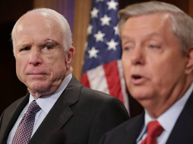 Sen. John McCain (R-AZ) (L) and Sen. Lindsey Graham (R-SC) hold a news conference to say they would not support a 'Skinny Repeal' of health care at the U.S. Capitol July 27, 2017 in Washington, DC. The Republican senators said they would not support any legislation to repeal and replace Obamacare unless it was guaranteed to go to conference with the House of Representatives. (Photo by Chip Somodevilla/Getty Images)